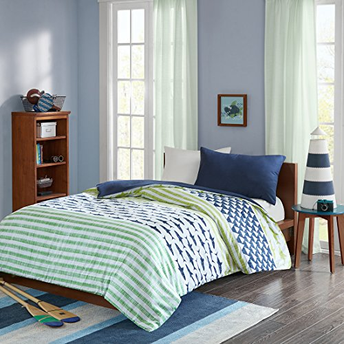 MIZONE Finn 2-tlg Kinderbettwäsche Set 100% Baumwolle Kinder Bettgarnitur Mädchen Jugendliche Teenager Bettwäsche Tier grün blau, 135x200cm+50X75cm