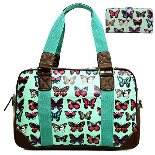 Miss Lulu , Damen Tote-Tasche Butterfly Green Set