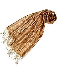 LORENZO CANA Luxus Pashmina Schal Schaltuch 100% Seide 70 x 190 cm Paisley Seidenschal Seidentuch Seidenpashmina Gold Camel Hellbraun 78143