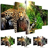 murando - Bilder 200x100 cm - Leinwandbilder - Fertig Aufgespannt - Vlies Leinwand - 5 Teilig - Wandbilder XXL - Kunstdrucke - Wandbild - Tier Leopard Natur g-C-0031-b-n