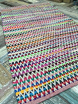 Gorgeous Multi Colour Zig Zag Design Soft Indian Rug 120cm x 180cm (4ft x 6ft) - cheap UK light store.