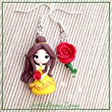 Orecchini Chibi Belle Cute Disney Earrings Fimo Polymer Clay Kawaii tiny Princess Principessa Rosa Rose Bella Bestia Regalo Handmade Beauty