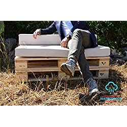Arketicom Pallet One CHEOPE - Cojin Asiento para Sofa en Euro Palet con tejido para Exterior Impermeable y Desenfundable - interior Espuma de Poliuretano Alta Densidad Made In Italy Hecho a ManoMedidas 80x120x10 Cm: Color 023-PACIFIC BLUE