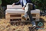 Arketicom Paletten Cheops, Kissen Sitz Sofa Outdoor Euro Paletten für Garten Wasserabweisend und abnehmbar Farbe Pacific Blue Füllung aus Polyurethan Hohe Dichte 1000% Handwerk Italienisch–Größe cm 80x 120x 10