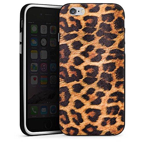 Apple iPhone X Silikon Hülle Case Schutzhülle Leopard Muster Fell Silikon Case schwarz / weiß