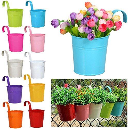 Yaheetech 10 X Blumentopf Balkontopf Hängetopf Gartendeko Geländertopf Blumenampel zum aufhängen