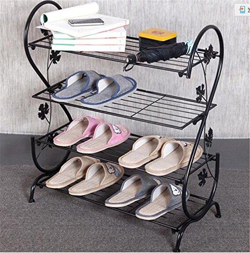 AISHN 4 Etagen Metall Schuhregal geschwungenes dekoratives Design chrom Schuh Tower Rack für 20 Paar Schuhe Schwarz