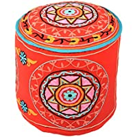 Coperchio ottomano rossa unica rotonda fatta a mano Pouffe cotone floreale etnica ricamato Ottomana Pouf (Sedia Da Giardino Ottomano)