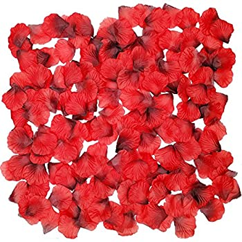 Ldoux 2000pcs Diy Fake Silk Rose Petals Confetti For Proposal Wedding Bed Decorations, Dark Red 4