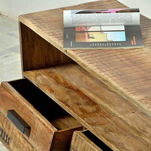 TV-Lowboard TV-Board Romsdal, Retro Vintage Design, Massivholz Mangoholz Natur, Breite 140 cm, Tiefe 40 cm, Höhe 52 cm - 5