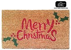 Idea Regalo - EHC Buon Natale e Agrifoglio Decorativo in Gomma/Fibra di Cocco, PVC e Tappetino, Rosso/Verde, 40x 70cm