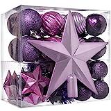 WeRChristmas Christbaumkugel-Set, 42-teilig, bruchsicherer Kunststoff, inkl. Lametta und Schmuck für Baumspitze Purple/Pink/Silver