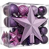 WeRChristmas - Set di decorazioni natalizie, 42 pezzi tra cui palline, punta per albero di Natale e ghirlanda viola/rosa / argento
