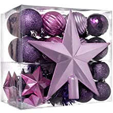 WeRChristmas Shatterproof Baubles with Tree Topper and Garland, 42-Piece - Purple/Pink/Silver