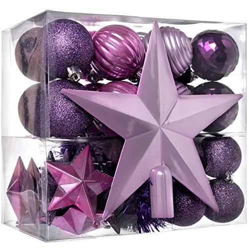 Werchristmas - set di decorazioni natalizie, 42 pezzi tra cui palline, punta per albero di natale e ghirlanda viola / rosa / argento