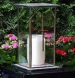 ♥ Design Grablampe Glas incl.LED Grabkerze mit Kreuz 22,0cm Grabschmuck Grablaterne Grableuchte Laterne Garten Friedhof Grablicht Grabdeko Kerze Licht