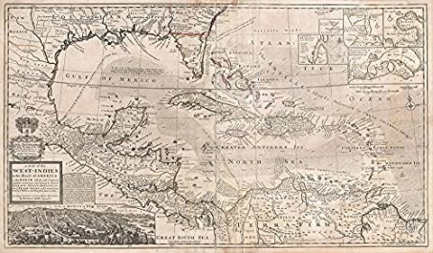 West Indies and South East Asia, Florida, Mexico Map Herman 1732 - Medium - Archival Matte Print