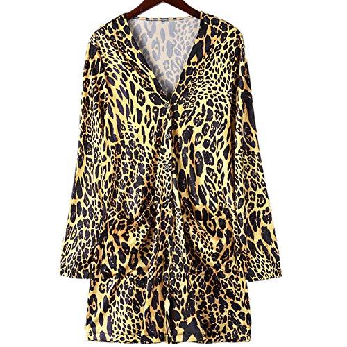 iHENGH Damen Herbst Winter Bequem Lässig Mode Frauen Langarm Leopard Print Mode Mantel Blusen T...