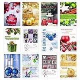 Set 24 (2 x 12) Weihnachtskarten mit Umschlag. Weihnachten Karte (Doppelkarten/Klappkarten mit Briefumschlag). Postkarte Weihnachtspostkarte