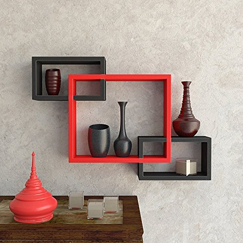 USHA Furniture Wall Mounted Shelf Set of 3 Floating Intersecting Storage Display Wall Shelves - (Red & Black)
