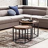FineBuy 2er Set Design Beistelltisch Okala aus Sheesham Massivholz | Satztisch mit Metallgestell | 2 Stück Moderne wabenförmige Couchtische