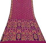 Vintage Indische Reine Seide Rosa Sari mit Blumenmuster