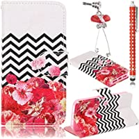 Sunroyal® Custodia per Wiko Sunset 2nd Generation, Portafoglio Wallet Flip Libro Dipinto Case Cover in (Onde Jack)