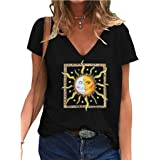 Moon And Sun Tshirt, Donna Ragazza 3D Live By The Sun Love By The Moon Maglietta Manica Corta Estate Moda Casual Sole e Luna