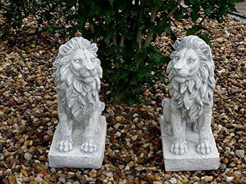 Mehrholz Steinfigur Löwe Löwenpaar Links und rechts schauend grau patiniert -