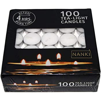 Nanki Trades Round Wax Tea Light Candles (3.7 cm x 3.7 cm x 1.2 cm, White, Set of 100)