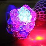 Mesh Squishy Ball With Lights Relieve Pressure Ball Squeeze Grape Ball Anti Stress Toy For Kids & Adults Toy For Autism, ADHD, Hyperactive Kids Adults - Anxiety Reducer Flash Mesh Ball Toy Gift (Color Random)