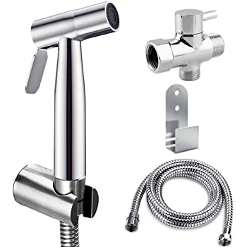 Bidet Sprayer, Hiseea Handheld Bidet Toilet Spray for Personal Hygiene, Pet Bath, Closestool, Squatting Pan, Water Flower, Floor Cleaning with Spray Holder, T-Valve, 1.2M Stainless Hose, 1.5M Telfon