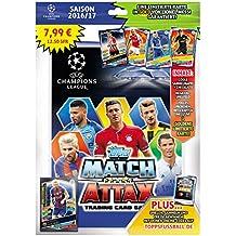 Topps d105726de de–Match Attax Cartas coleccionables Starter Pack Champions League 2016/17, carpeta, lista de comprobación, campo de juego, 5tarjetas y 1Tarjeta de edición limitada