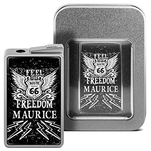 Feuerzeug mit Namen Maurice - personalisiertes Gasfeuerzeug mit Design Route 66 - inkl. Metall-Geschenk-Box