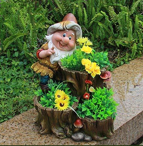 Design XL Zwerg mit 3 Blumentopf 27 cm Hoch NF 15195 Deko Garten Gartenzwerg Figuren Dekoration