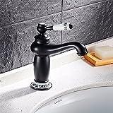 NANIH-faucet NANIH Home Waschtisch-Mischbatterie Badezimmer Küchenbecken Wasserhahn Dicht Wasserdichtes Set Badezimmerzubehör Retro Schwarz Kupfer Blau-Gefliest Niedrig Waschtischmischer