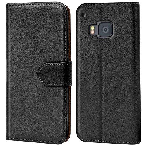 Verco One M9 Hülle, Handyhülle für HTC One M9 Tasche PU Leder Flip Case Brieftasche - Schwarz