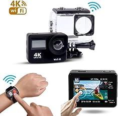 Kamera von Sport, condant Actioncam Wasserdicht/Helmkamera Recorder 4K WLAN Ultra HD Wasserdicht 2Zoll LCD 30M Unterwasser 170° Weitwinkel mit 2Akkus 1050mAh und Kit COMPLE