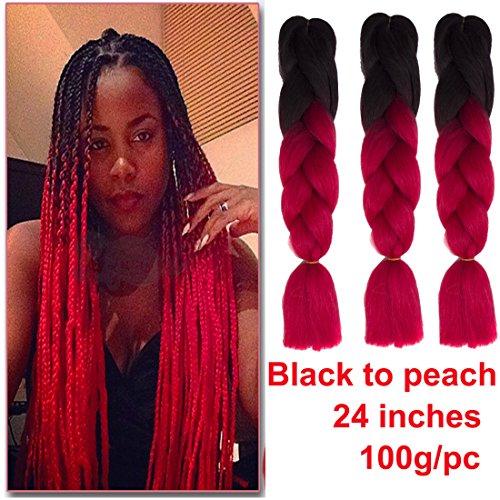 Showjarlly jombo treccia capelli sintetici 100g/pc 61cm lungo kanekalon africano trecce extension 3pcs/lotto