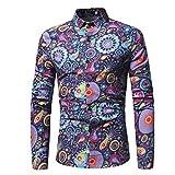 MEIbax Männer Hemd Casual Schlank Langarm-Printed Shirt Top Bluse Freizeit Hemd Party Hemd Herren Longsleeve Slim Fit Hemd(Marine,XL)