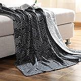 iBaste Kuscheldecke Sofadecke aus Baumwolle 100% Schlafdecke Strickdecke Warm und Weich Wohndecke-Schwarz-150x200cm