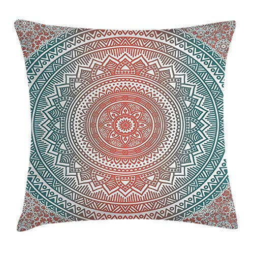 Teal and Coral Throw Pillow Cushion Cover, Ombre Mandala Art Antique Gypsy Stylized Folk Pattern Mystical Cosmos Image, Decorative Square Accent Pillow Case, 45 X 45 cm, Teal Coral -