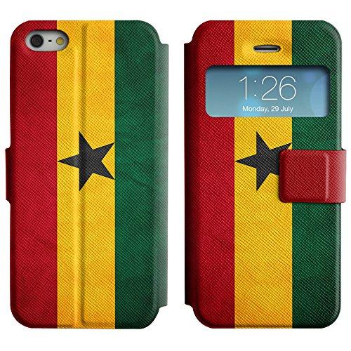 Graphic4You Vintage Uralt Flagge Von Elfenbeinküste Ivorisch Design Leder Schützende Display-Klappe Brieftasche Hülle Case Tasche Schutzhülle für Apple iPhone 5 und 5S Ghana Ghanaer
