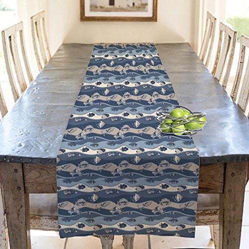 Tank Water Cold Fish (AZ Fish Aquarium Table Runner Satin Fabric 36 x 12inch; SINGLE PIECE)