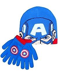 Boy 's Marvel Los Vengadores superhéroes invierno sombrero y guantes Set