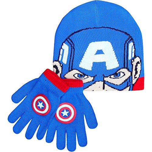 Da ragazzo Marvel Avengers Supereroi Inverno Cappello e guanti Set Captain America Taglia (Cappello Di Inverno Guanti)