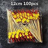 Fiesta 100 Stück/200 Stück 12 cm/15 cm verschiedene Stile Bambus/PVC Food Picks Obst Gabel Sticks Buffet Cupcake Topper Bar Tools: 12 cm 100 Stück