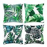 Niceclub Lot de 4 Housses de Coussin décoratives en Coton et Lin Motif Plantes Tropicales 45,7 x 45,7 cm