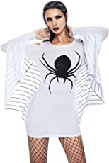 Halloween Kleider,Resplend Damen Off Shoulder Kleid Spinnenuniform Dress Freizeit Schlank Lange Ärmel Spinne Kostüm Minikleid