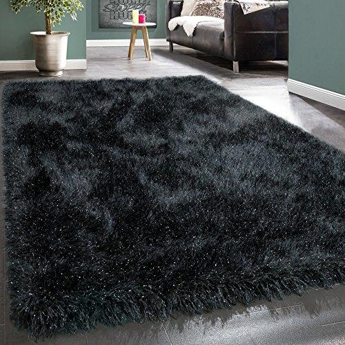 Shaggy Hochflor Teppich Modern Soft Garn Mit Glitzer In Uni Anthrazit Grau, Grösse:80x150 cm (Haut-teppich)
